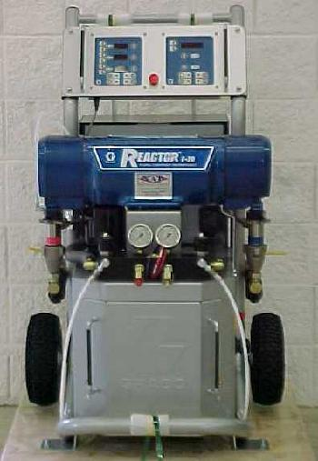 Graco E20 spray foam machine package includes 50' of heated hose, 10' whip hose and your choice of an air purge spray gun.
